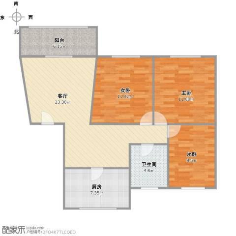 宝山九村3室1厅1卫1厨98.00㎡户型图