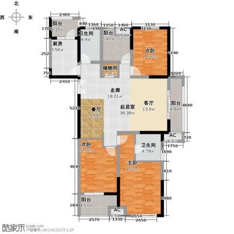 凤凰湖壹号3室0厅2卫1厨142.00㎡户型图