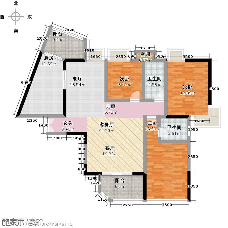 天骄峰景15#02户型3室1厅2卫1厨