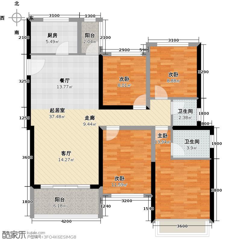 大东城B单元A4户型4室2卫1厨