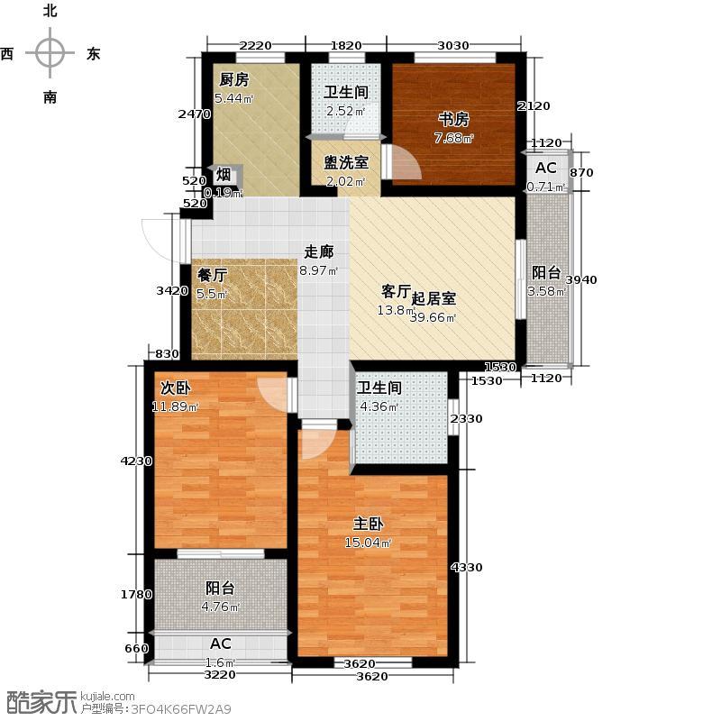 河海新邦11#楼G户型3室2厅2卫1厨111.00㎡户型