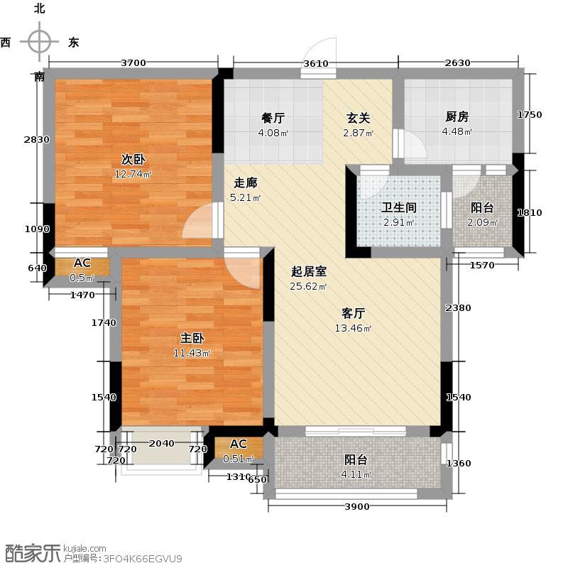 联投龙湾D2户型2室1卫1厨