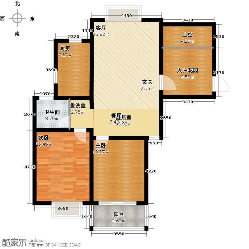 滨江明珠城104.65㎡22#楼 C6户型 三室两厅一卫户型3室2厅1卫
