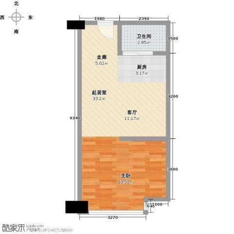 东城万达广场1卫0厨52.00㎡户型图