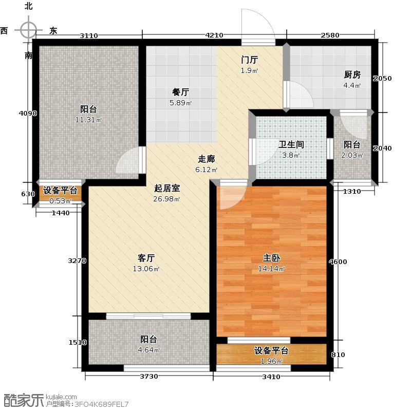 泰盈八千里80.00㎡二房二厅一卫-80平方米-104套户型