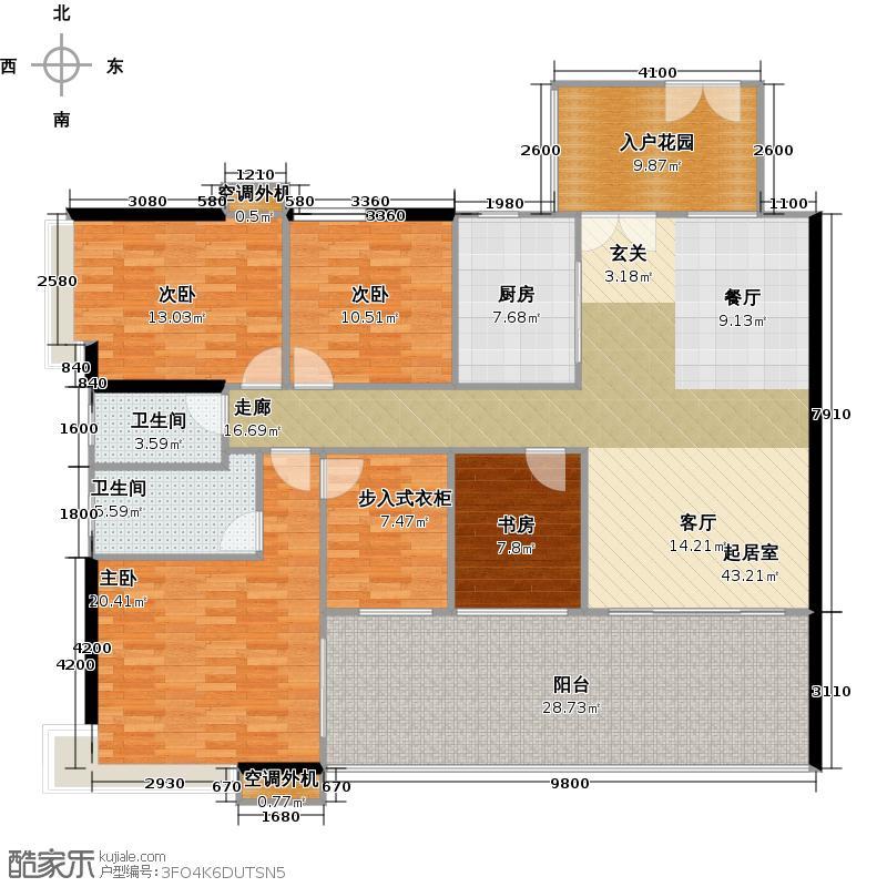 颐和盛世和景台02单位户型4室2卫1厨