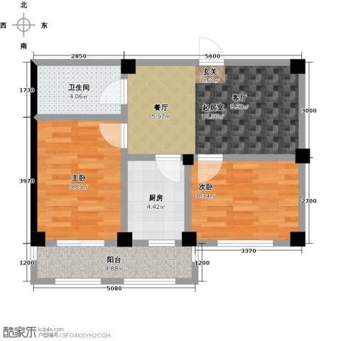 湾德里华府2室0厅1卫1厨63.00㎡户型图