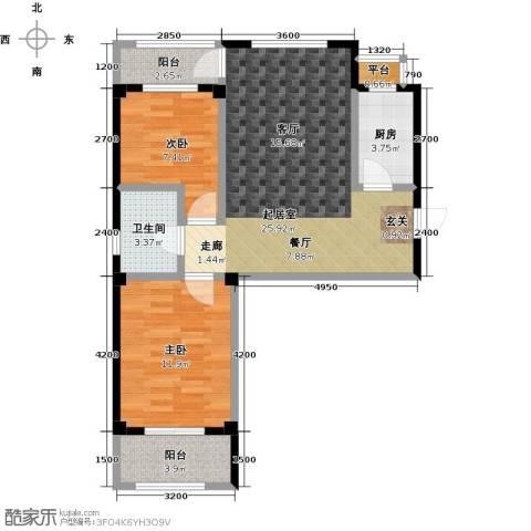 湾德里华府2室0厅1卫1厨68.59㎡户型图