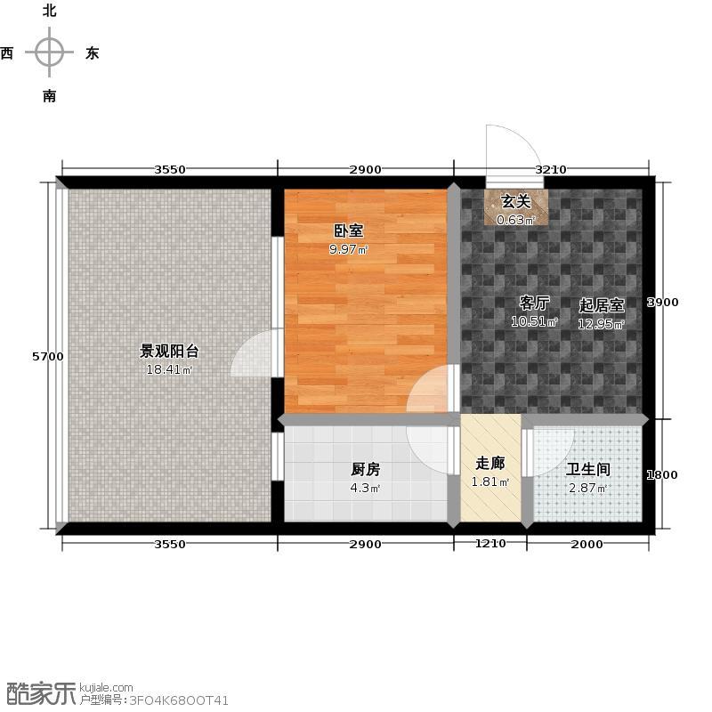 连大文润金宸61.83㎡C户型 1室1厅户型