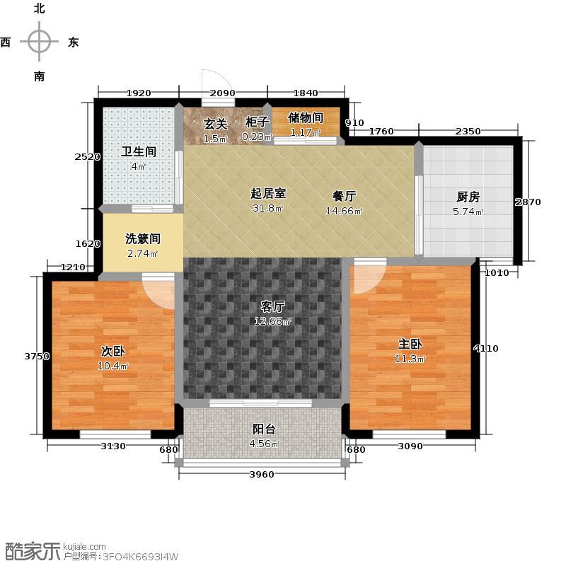 连大文润金宸86.00㎡二房二厅一卫户型