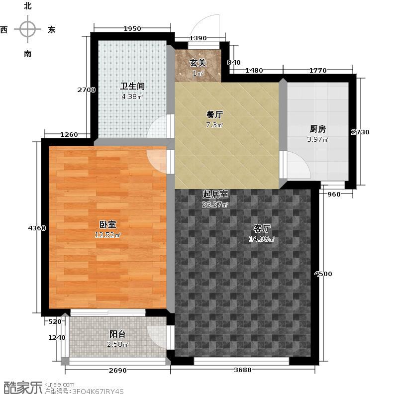 连大文润金宸60.70㎡1室2厅1卫1厨户型
