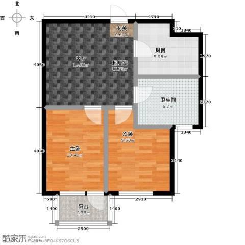 连大文润金宸2室0厅1卫1厨65.00㎡户型图