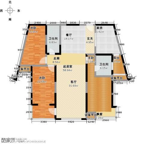 剑桥春雨3室0厅2卫1厨214.00㎡户型图