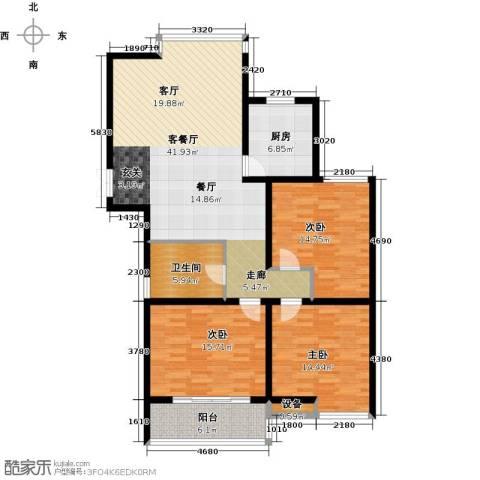 九洲新世界3室1厅1卫1厨121.00㎡户型图