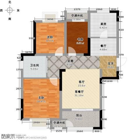 御景湾3室1厅1卫1厨93.00㎡户型图
