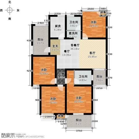 九洲新世界4室1厅2卫1厨143.00㎡户型图