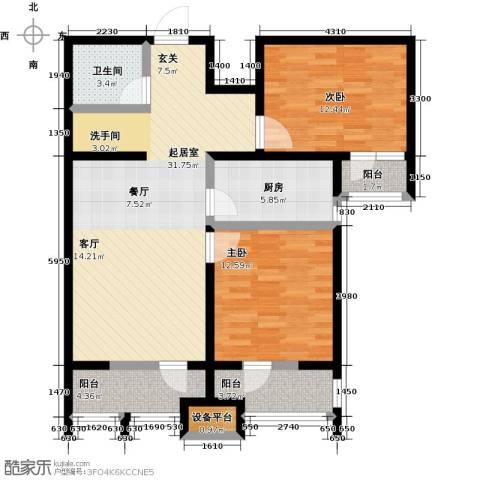 龙鼎天悦2室0厅1卫1厨91.00㎡户型图