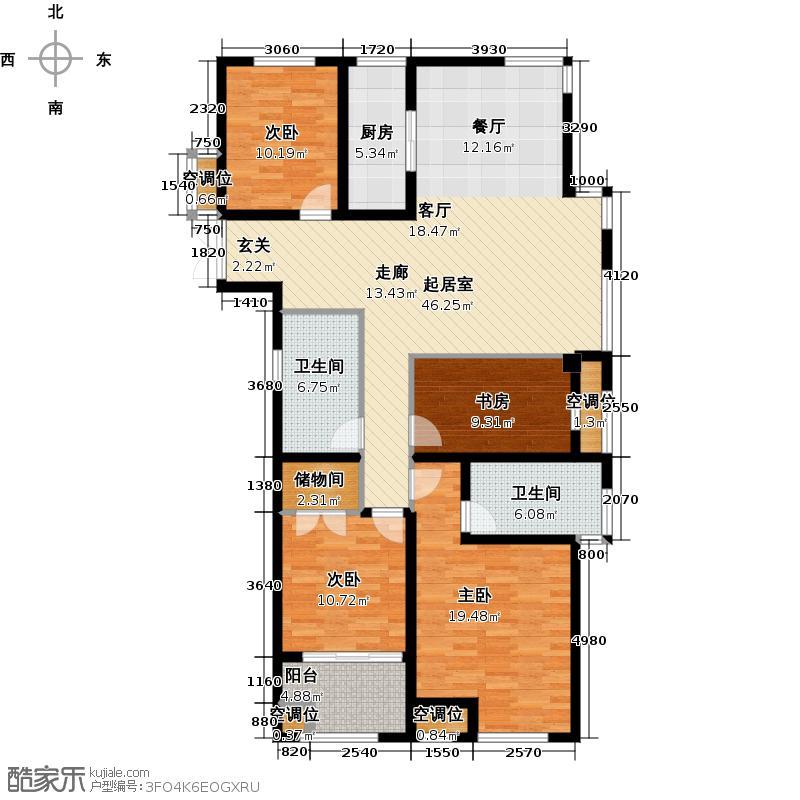 申达林与城143.00㎡B户型4室2厅2卫