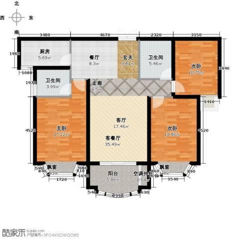 大名城3室1厅2卫1厨115.00㎡户型图