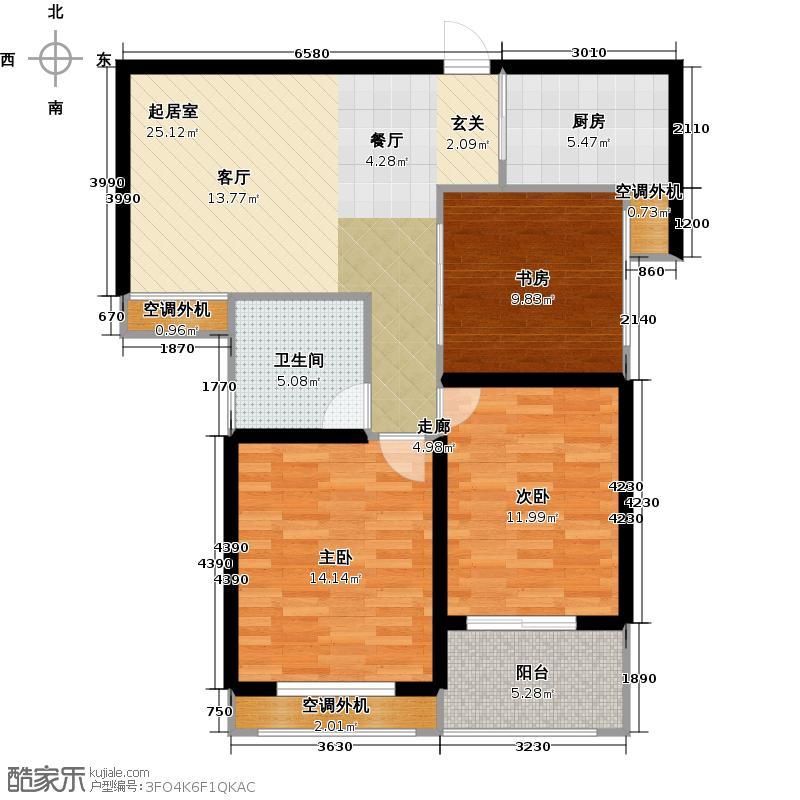 银河湾明苑91.79㎡三房二厅一卫-91.79平方米-60套户型