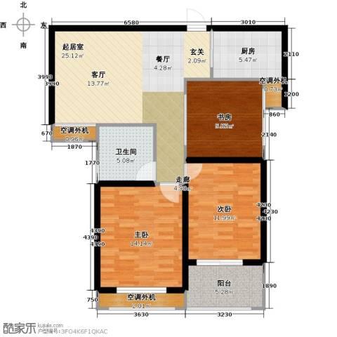 银河湾明苑3室0厅1卫1厨92.00㎡户型图