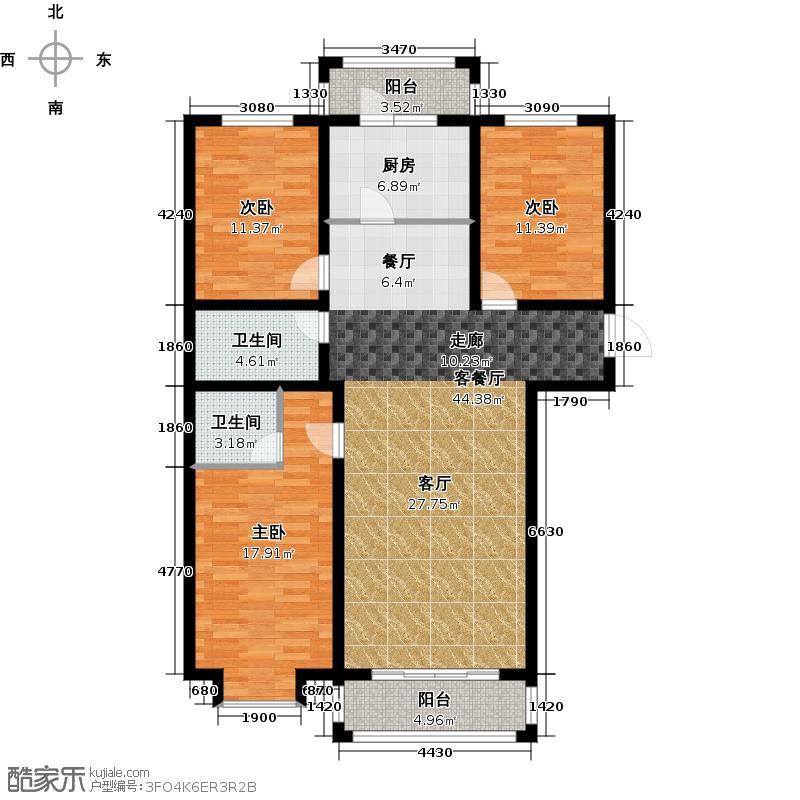 恒伟绿洲123.00㎡B户型3室2厅2卫