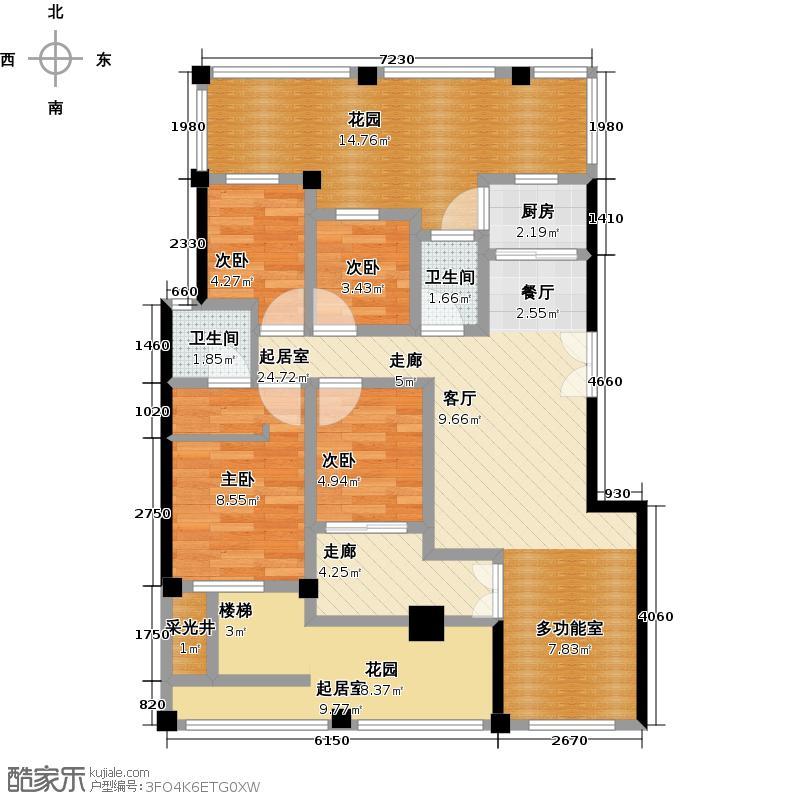 绿都万和城96.47㎡H1户型4房2厅2卫 96.47平户型4室2厅2卫