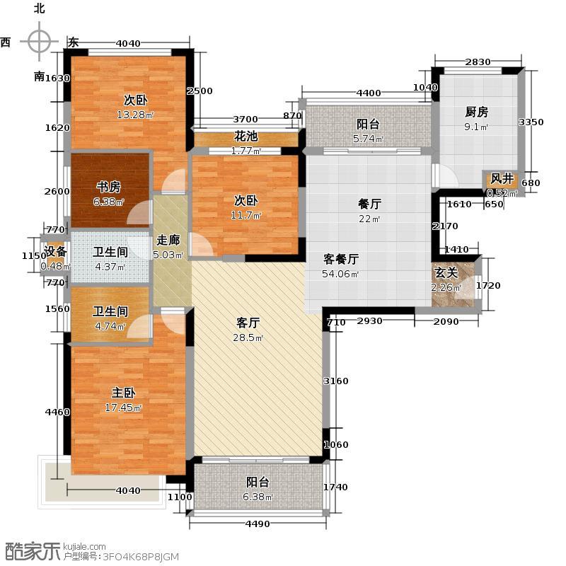 恒大银湖城38栋3-18层01户型4室1厅2卫1厨