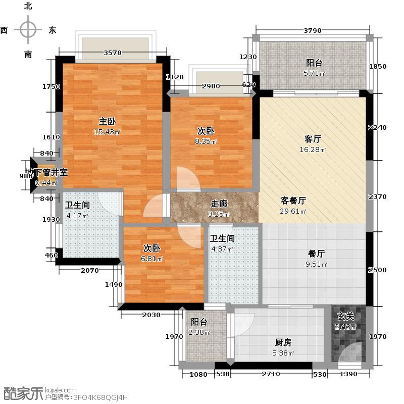恒大银湖城3栋3-11层01户型3室1厅2卫1厨