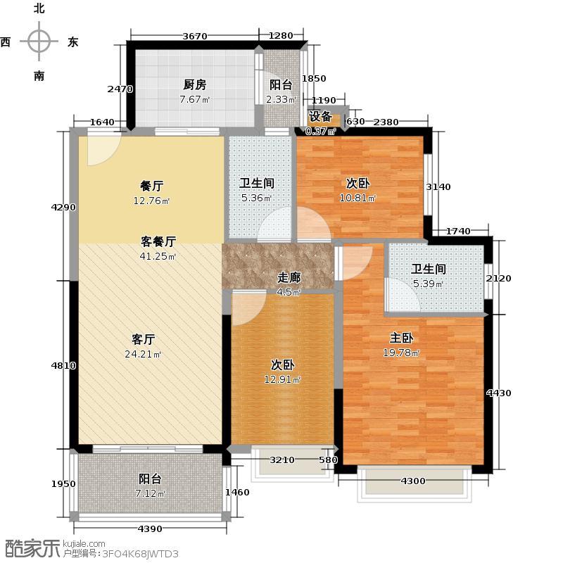 恒大银湖城9栋3-18层01户型3室1厅2卫1厨