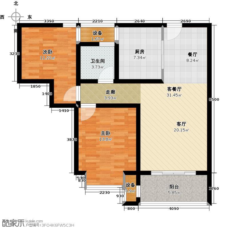 九洲新世界88.00㎡22#B户型2室2厅1卫