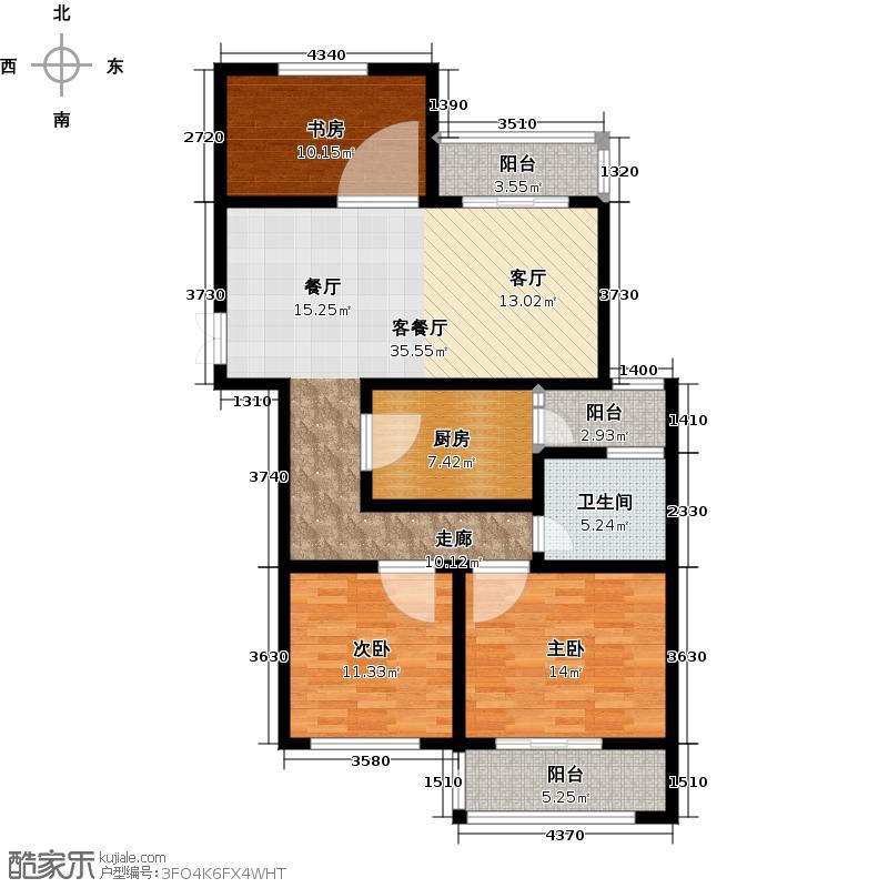 九洲新世界111.82㎡三房二厅一卫户型3室2厅1卫