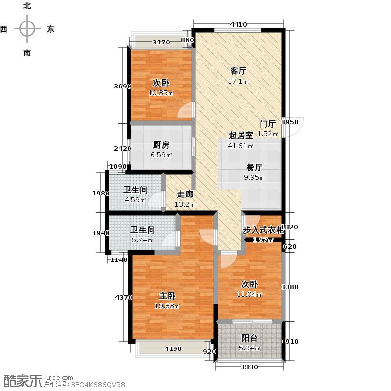 泰盈八千里120.70㎡C户型三房两厅两卫120.7户型3室2厅2卫