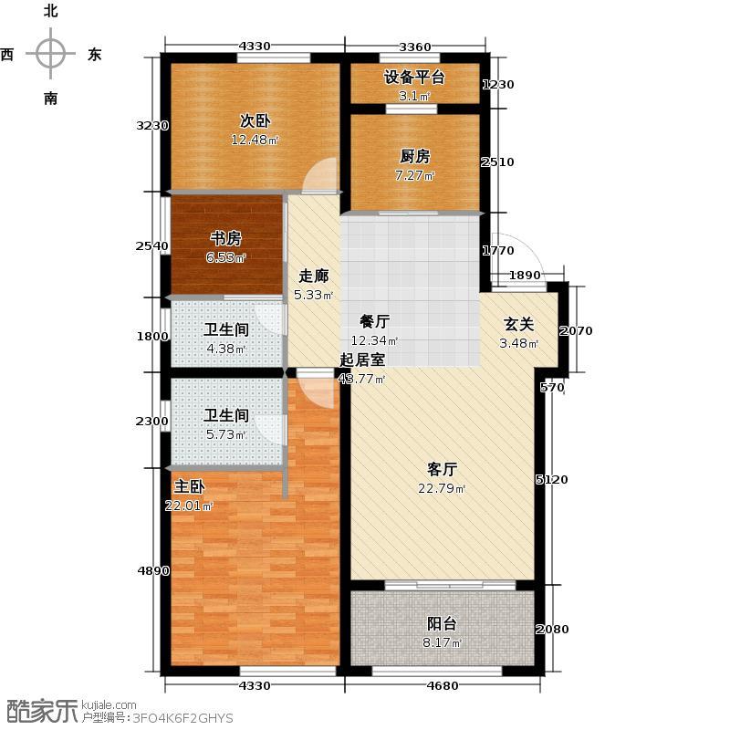 吾悦国际广场127.00㎡香榭丽舍C1 3室2厅2卫户型3室2厅2卫