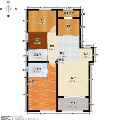 吾悦国际广场3室0厅2卫1厨127.00㎡户型图