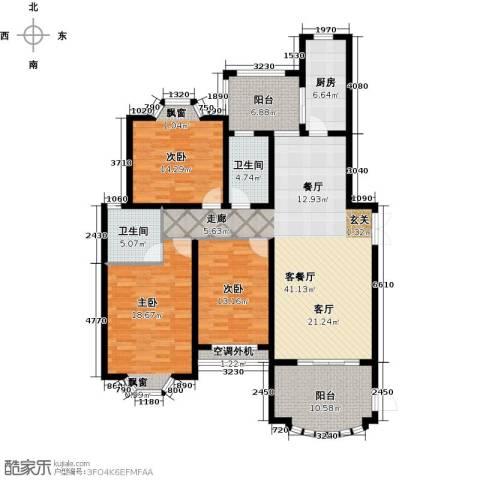 大名城3室1厅2卫1厨140.00㎡户型图