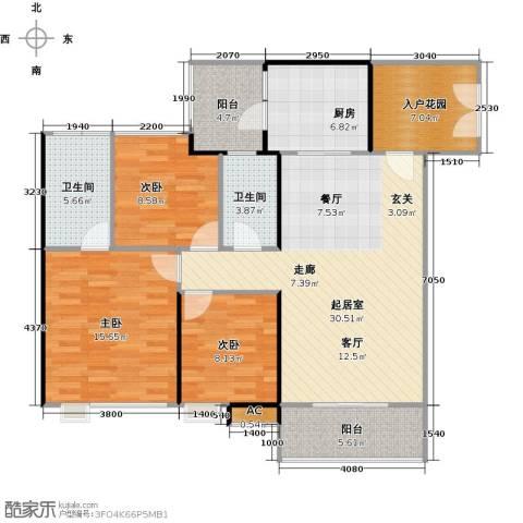 云裳丽影3室0厅2卫1厨106.00㎡户型图