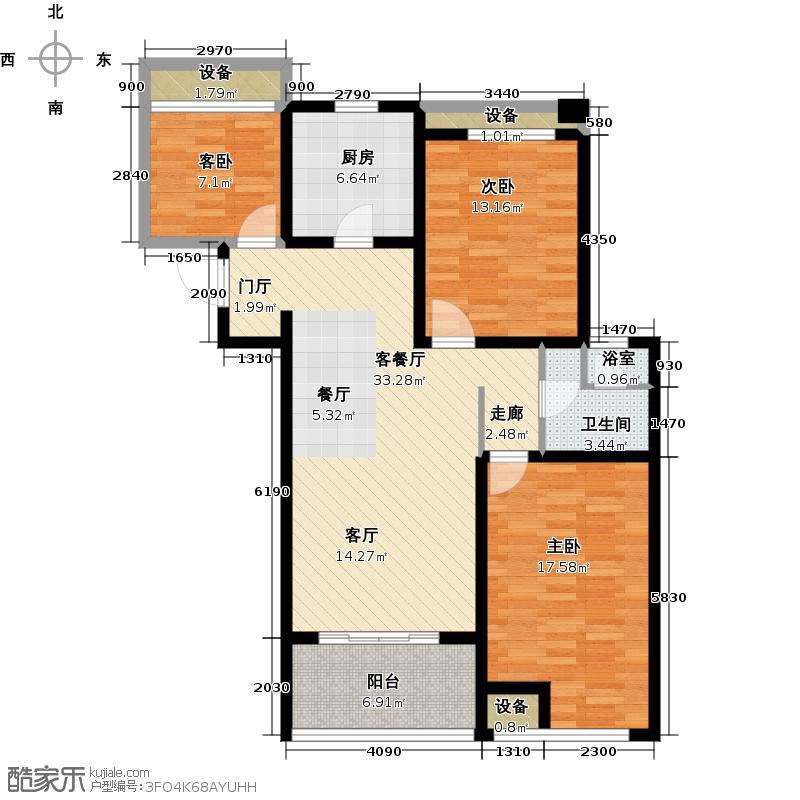 上书房108.00㎡C户型两室两厅一卫+空中花园户型2室2厅1卫