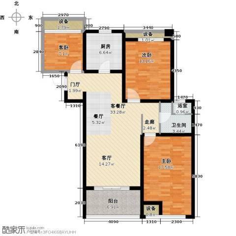 上书房3室1厅1卫1厨108.00㎡户型图