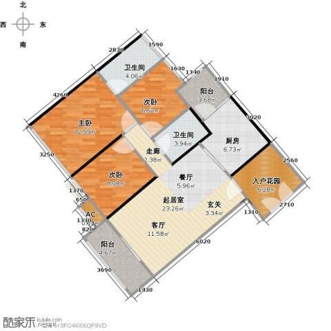 云裳丽影3室0厅2卫1厨113.00㎡户型图