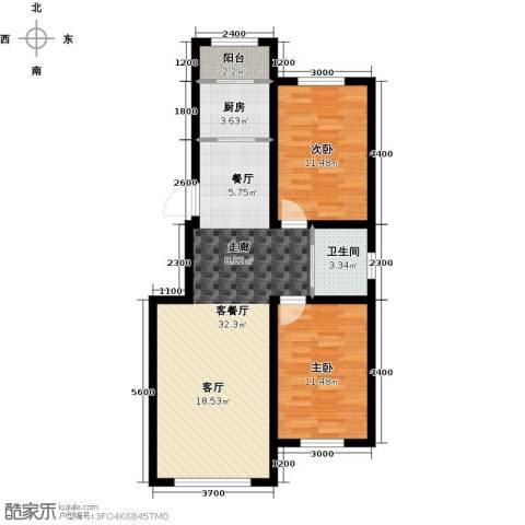 万福小筑2室1厅1卫1厨90.00㎡户型图