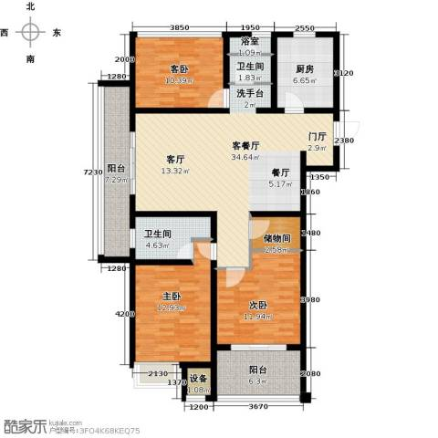 上书房3室1厅2卫1厨118.00㎡户型图