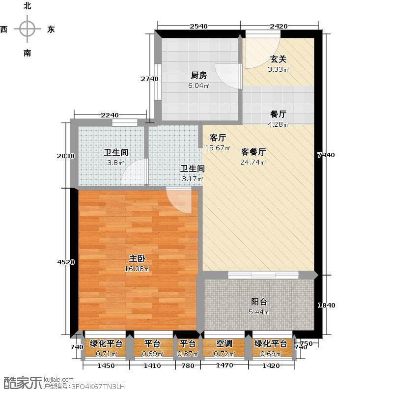 金地假日广场65.00㎡D户型 1房2厅1卫户型1室2厅1卫