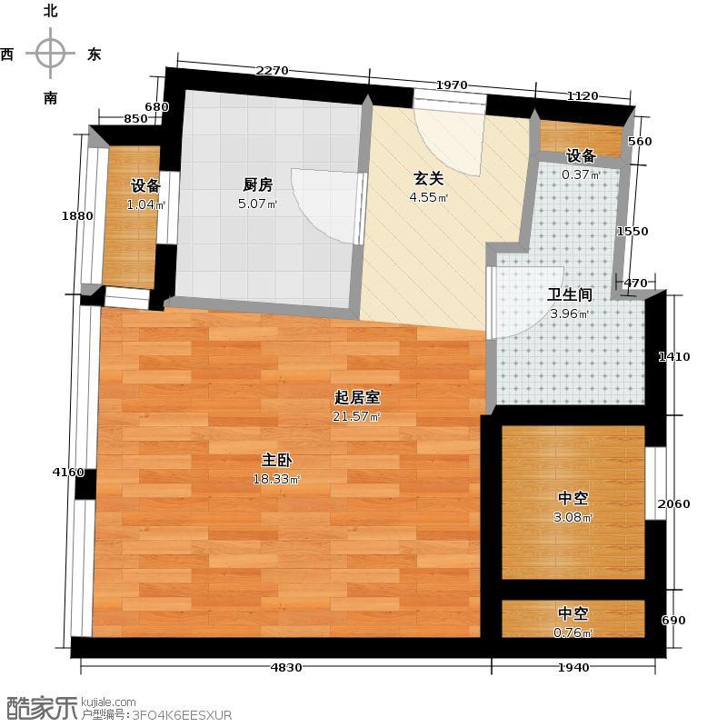 九洲新世界42.00㎡偶寓D2户型1室1厅1卫