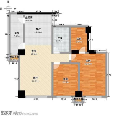 剑桥春雨3室0厅1卫1厨133.00㎡户型图