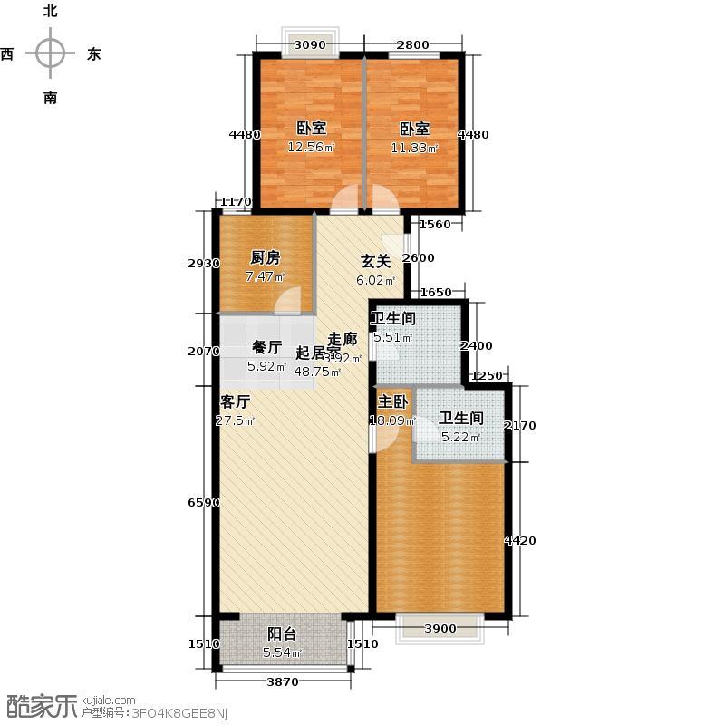 远洋山水・远景阁148.00㎡c1户型八单元三室二厅二卫户型