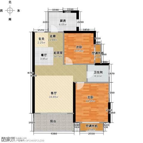 银河湾明苑2室0厅1卫1厨89.00㎡户型图