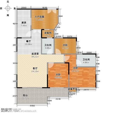 宏新华庭3室0厅2卫1厨119.00㎡户型图