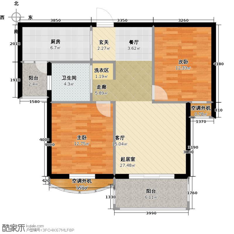 银河湾明苑83.62㎡二房二厅一卫-83.62平方米-33套。户型
