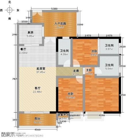 美荔尚筑3室0厅3卫1厨131.00㎡户型图